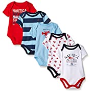 Nautica Baby Boys' Newborn Five-Pack Bodysuits, Red, 0-3 Months