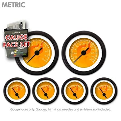 GARFM87 Ghost Flame Orange Gauge Face Set Aurora Instruments