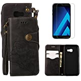 For Samsung Galaxy A5 2017 A520 Wallet Case with Screen Protector ,OYIME [ Elegant Vintage Rose ] Classic Design Flip Bookstyle Leather Holster with Wrist Lanyard Kickstand Magnetic Card Slots Function Full Body Protective Cover - Black