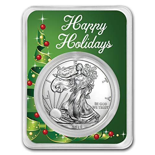 2018 1 oz Silver American Eagle - Happy Holidays (Ribbon Tree) 1 OZ Brilliant Uncirculated