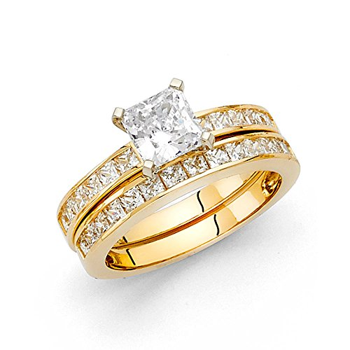 Paradise Jewelers 14K Solid Yellow Gold 1.25 cttw Princess Cut Cubic Zirconia Engagement Wedding Ring, 2 Piece Bridal Set, Size 5.5 14k Yellow Gold Two Piece