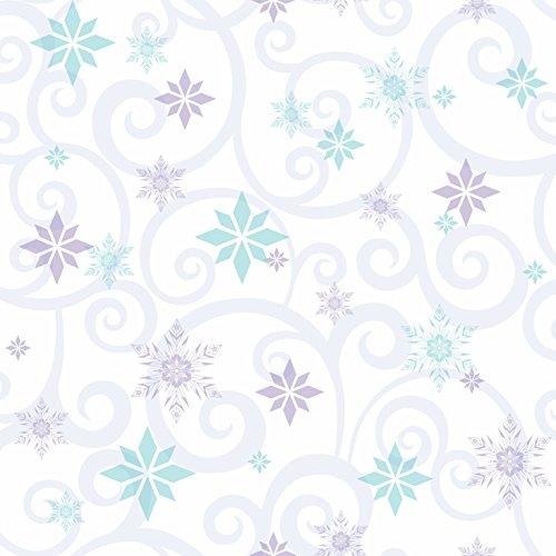- York Wallcoverings Kids III Disney Frozen Snowflake Scroll Removable Wallpaper, Whites