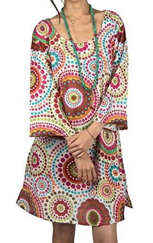 Hippie Mini (Tribe Azure 100% Cotton Women Summer Floral Pink Red T-Shirt Dress Mini Boho Hippie Casual Fashion Beach Ethnic Shift Loose Tunic (XL))