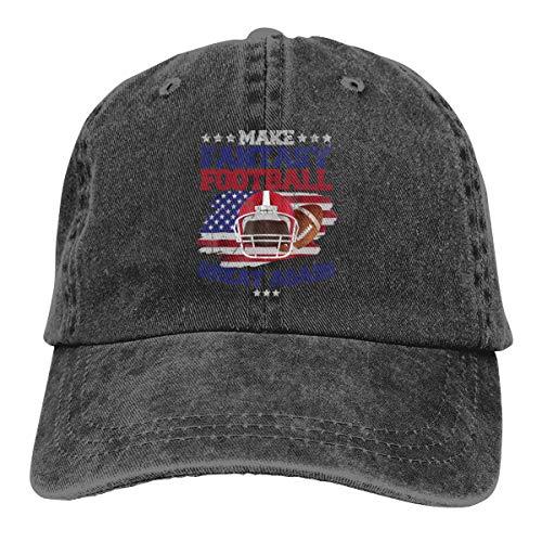 Make Fantasy Football Great Again Denim Hat Adjustable Mens Flag Baseball Cap