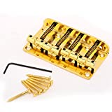 Musiclily 4 String Vintage Style Bass Hardtail Bridge for Fender Precision Jazz Bass Top Load Upgrade,Gold