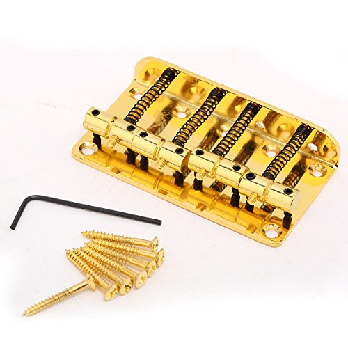 Musiclily 4 String Vintage Style Bass Hardtail Bridge for Fender Precision Jazz Bass Top Load - Bridge Gold