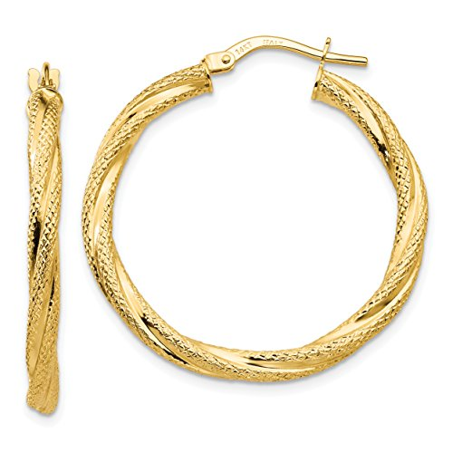 14k Yellow Gold Twisted Textured Hoop Earrings (1.2IN Long) from Jewelry Pot