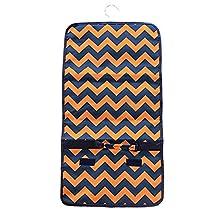 Chevron Stripe Print Roll up Hanging Jewelry Travel Case Blue & Orange