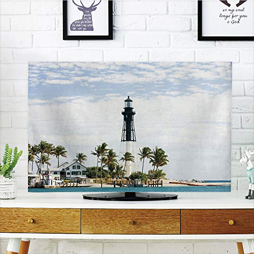 - iPrint LCD TV dust Cover,United States,Hillsboro Lighthouse Pompano Beach Florida Atlantic Ocean Palms Coast Decorative,Blue White Green,3D Print Design Compatible 32