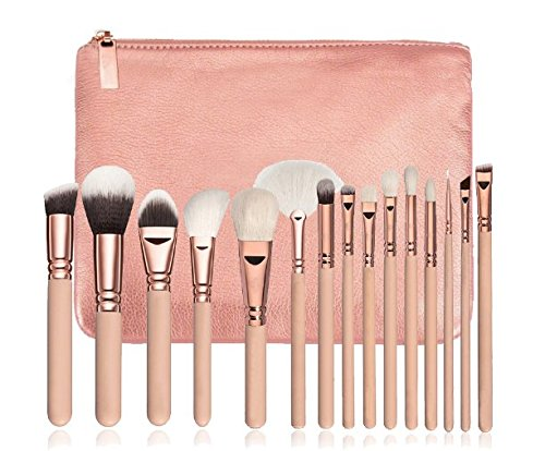 15 Pics Pink Makeup Brushes Set - Foundation Brushes, Cosmetic Brushes, Professional Brushes for Face Make-up, Contour Brushes, Concealer Brushes, Lip brushes, Eye Shadow Brushes with Travel - Gold Set Pics