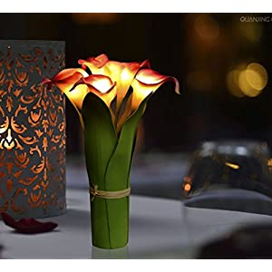 Homeseasons LED Lighted Artificial Flower Calla Lily Arrangement-Battery Operated 7 Heads Calla Lily Light with Green Leaves 3