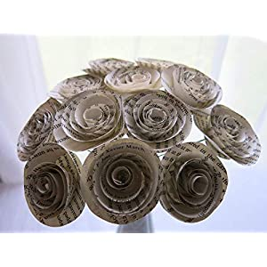 """Classic Book Page Roses on Stems, Paper Flowers Bouquet, One Dozen Paper Roses, 1.5"""" Blooms, Bridal Shower Decoration, Party Decor, Set of 12, Wedding and Event Planning Literary Theme 72"""