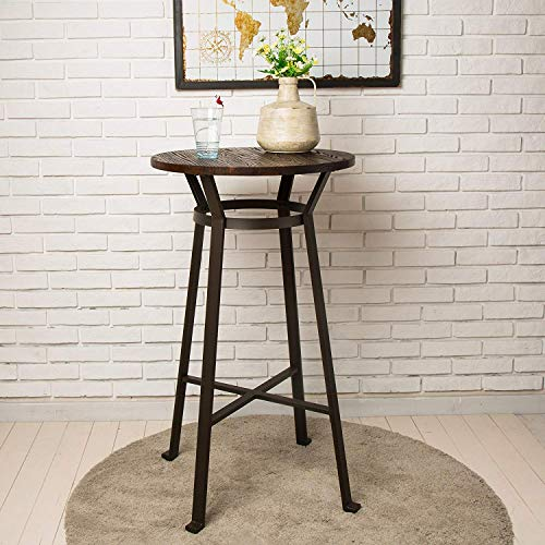 Glitzhome Rustic Steel Bar Table Round Wood Top Dining Room Pub Table Furniture