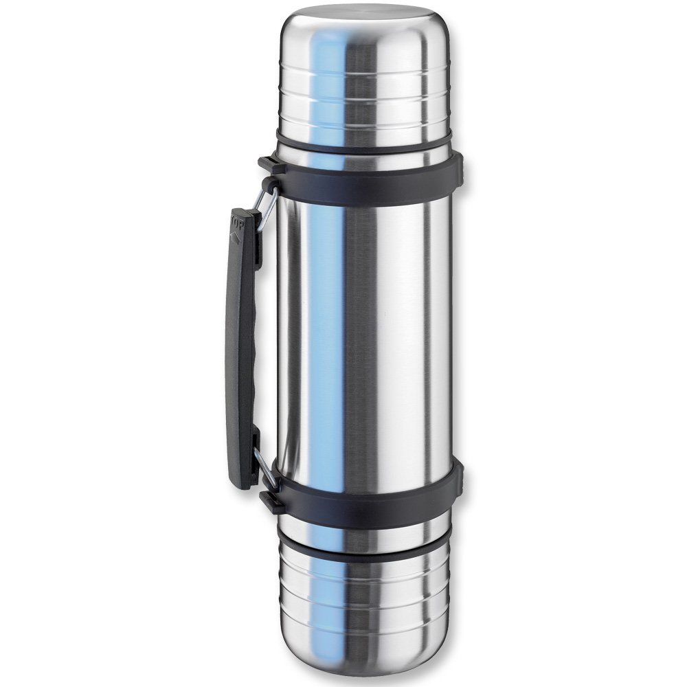 Isosteel Duo VA-9562DQ Vacuum-Insulated Thermos Flask with Quickstop Single-Hand Pouring System and 2 Screw-Off Drinking Cups 1.0 L 18/8 Stainless Steel