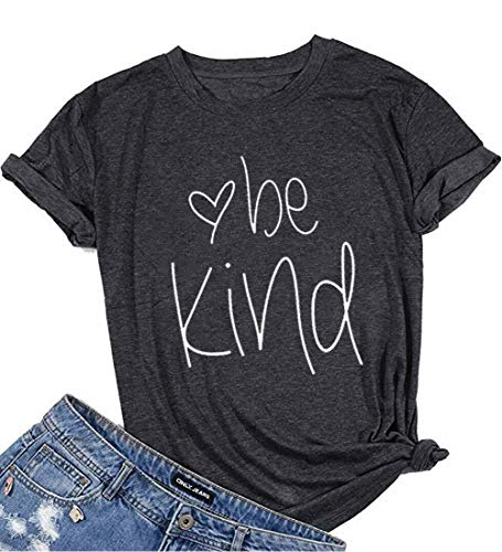 Be Kind T-Shirt Women's Graphic Printed Fashion Short Sleeve Tops Blouses Size US L/Tag XL - Cut T-shirt Womens Heart