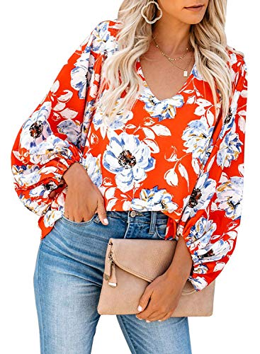 Tiksawon Womens V Neck Long Sleeve Chiffon Blouses Floral Print Balloon Sleeve Relaxed Fit Shirts Orange XXL (Best Plus Size Fashion)