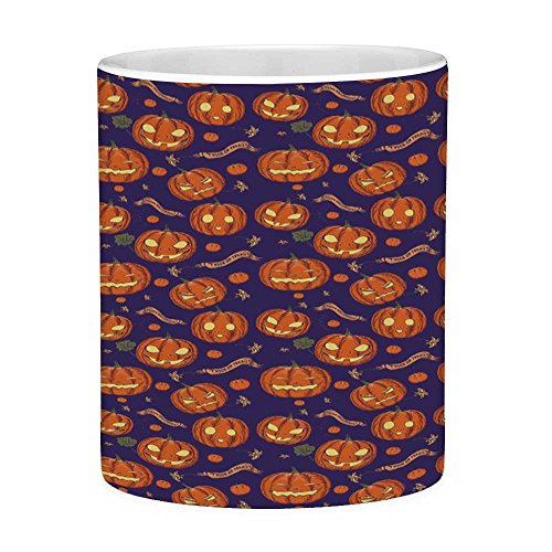Lead Free Ceramic Coffee Mug Tea Cup White Halloween 11 Ounces Funny Coffee Mug Pumpkins Pattern Different Face Expressions Happy Angry Scary Puzzled Orange Indigo Yellow]()