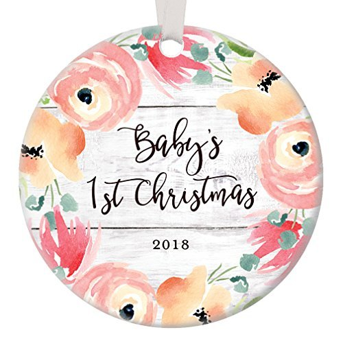 Baby's First Christmas Ornament 2018, Newborn 1st Baby Girl Little Girls Xmas Decoration for New Parents Flower Bloom Baby Shower Ceramic 3 inch Flat Circle Porcelain