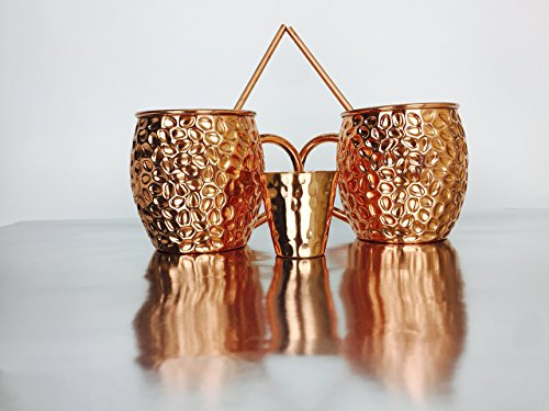 Moscow Mule Mugs 100% Copper Pure Handmade Hammered Complete Set , For Cocktails Whiskey Tequila Vodka & Rum Mixed Drinks - Includes Drinking Straws & Shot (Harbor Sweets Grand)