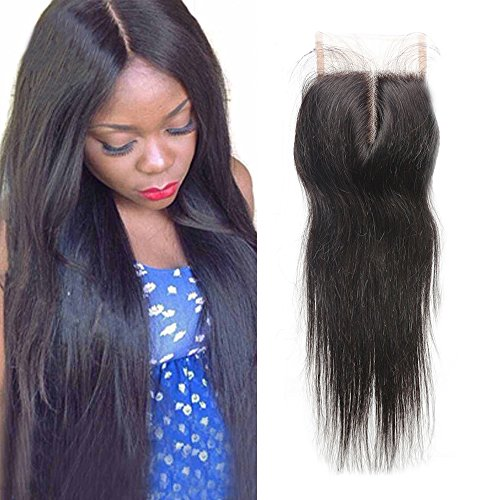Sunwell Brazilian Virgin Human Hair Lace Closure Straight Middle Part 4x4 Remy Lace Front Closure Hair Piece with Baby Hair Can be Bleached 130% Density Natural Color 8