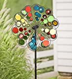 Multicolor Mirror Outdoor Garden Metal Wind Spinner 24 dia. x 10.25 D x 75 H