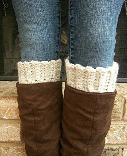 - Extra Wide Calf Boot Cuffs Toppers for Women Cream Peruvian Wool Made in USA