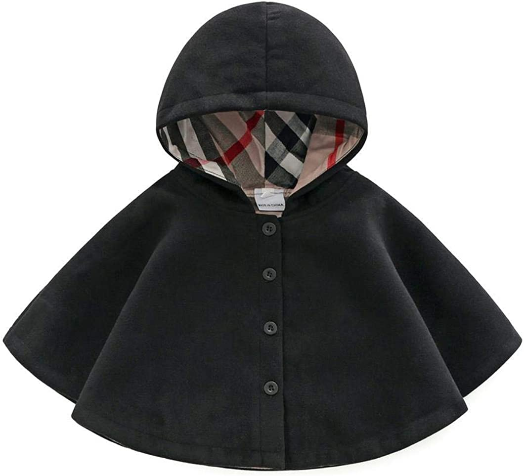 MODNTOGA Baby and Toddler Boys Girls Wool Blend Winter Hooded Outerwear Capes Poncho Coat