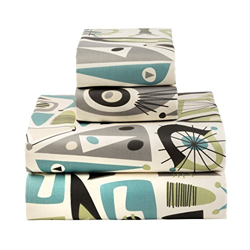 Sin in Linen Airstream Dreams Sheets, Teal and Gray Mid-Century Modern Bedding