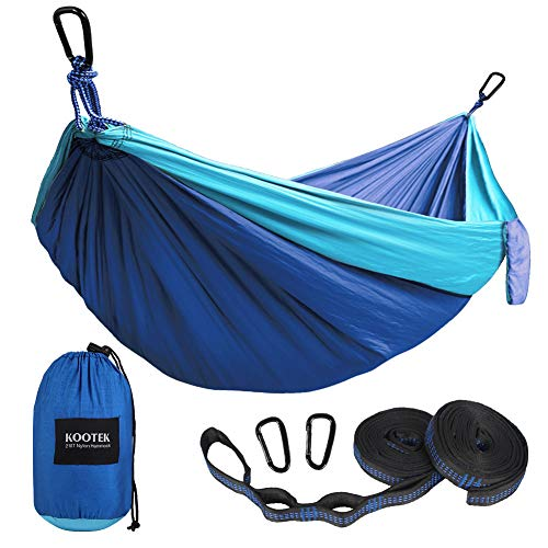 - Kootek Camping Hammock Portable Indoor Outdoor Tree Hammock with 2 Hanging Straps, Lightweight Nylon Parachute Hammocks for Backpacking, Travel, Beach, Backyard, Hiking (Sky Blue/Blue, L)