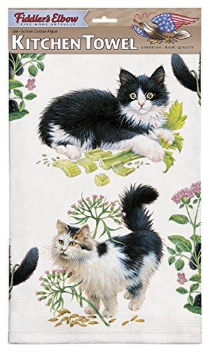 (Black and White Kittens Dish Towel, Kitchen Towel With Hanging Loop, 100% Cotton Eco-friendly Dish)