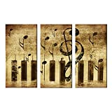 Melody Art - The Modern Music Piano Score Artwork Stretched and Framed Contemporary Abstract Paintings on Canvas Wall Art for Dining Room Bedroom Kitchen Home Decorations, 12x24inch/piece, 3 Panels