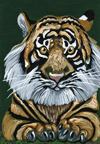 ACEO ATC -Free Shipping-Tiger Big Cat Wildlife-Original Art Miniature Painting-Carla Smale