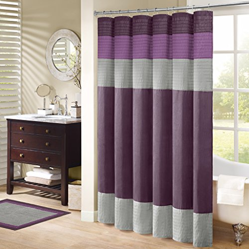 Madison Park MP70-222 Amherst Shower Curtain 72x72 Purple (Grey And Purple Shower Curtain)