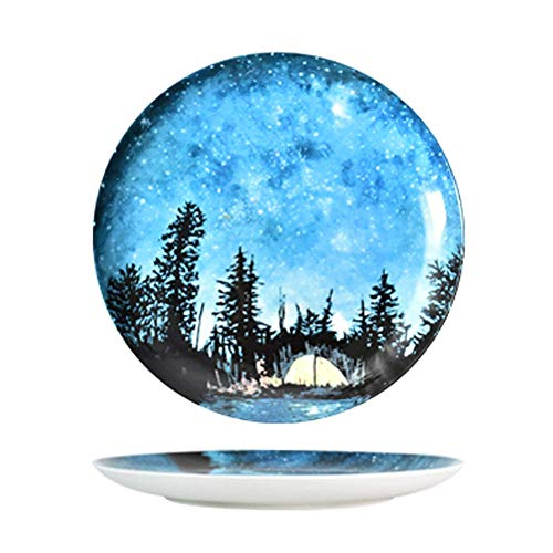 Tent Creative Round Ceramic Plate Galaxy Star Blue White Plants Pattern Steak Soup Bread Dish Cake Dessert Salad Fruit Sushi Snack Noodle Candy Plate Smooth Surface Gift Friend Kid Family Chef Bracelet White Salad Plate