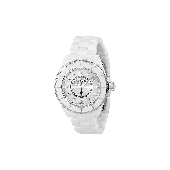 Chanel J12 Madre de Perla Diamante Dial Blanco Cerámica Unisex Reloj H3214