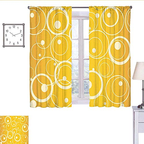 WinfreyDecor Vintage Yellow Black Out Window Curtain Circles and Dots Monotone Geometric Shapes with Yellow Background Curtain Valance Yellow Pale Yellow W55 x L39 (Valance Circle Dot)