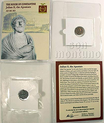 - JULIAN II - Ancient Roman Bronze Coin in Folder with Certificate of Authenticity 361-363 AD