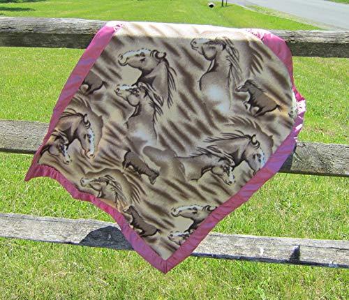 HORSE HEAD Equestrian Baby Blanket Single Layer Fleece Fabric & Satin Border 30