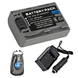 amsahr S-NPFP50 Digital Replacement Battery Plus Travel Charger for Sony NP-FP50, NP-FP30 with Lens Accessories Pouch (Gray)