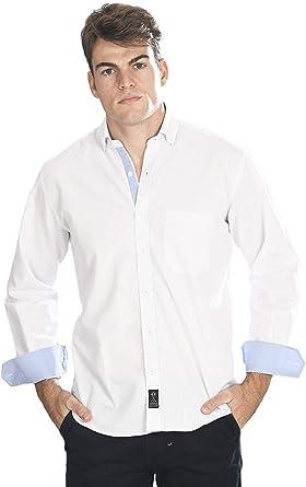 Camisa Manga Larga Blanca con Rayas Finas de Color Azul Celeste para Hombre: Amazon.es: Ropa y accesorios