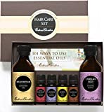 Hair Care Essential/ Carrier Oil Set- 100% Pure Therapeutic Grade Essential Oils and Base Oil- 4/ 10 ml of Rosemary, Lavender, Lemon and Rosewood and 2/ 100 ml of Meadowfoam and Camellia Seed Carrier Oil
