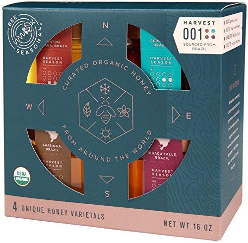 Bee Seasonal Raw Organic Honey Varietal Gift Set, a sweet honey gift to share - 4 x 4oz
