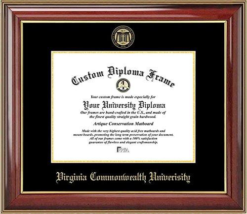 Laminated Visuals Virginia Commonwealth University Rams - Embossed Seal - Mahogany Gold Trim - Diploma Frame