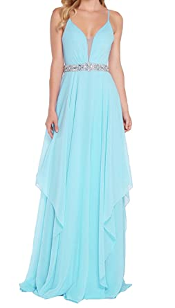 AdelleDress Womens V Neckline Prom Dresses A Line Long Chiffon Beach Formal Gowns 2018 Aqua US0