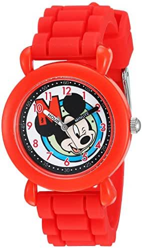 Disney Boy's 'Mickey Mouse' Quartz Plastic and Silicone Casual Watch, Color:Red (Model: WDS000144)