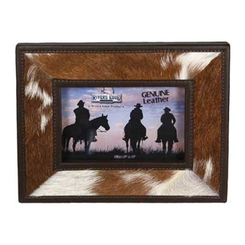 Rivers Edge Products 4 X 4-Inch Cowhide Picture Frame Cowhide Picture Frame
