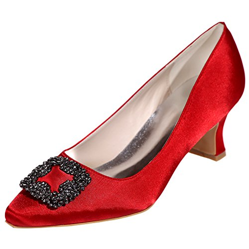 LOSLANDIFEN Womens Pionted Toe Satin Kitten Heels Rhinestones-Encrusted Party Wedding Shoes Red PMlv2bw9Y