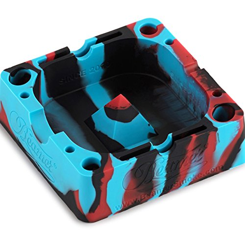 (Black/Blue/Red Beamer Silicone Premium AshTray w/ Glass Friendly Tapping Center Unbreakable Shatter / Heat Resistant up to 570°F! Holds cigarettes Blunts Most Cigars Cigarillo Lighters Rolling Paper)