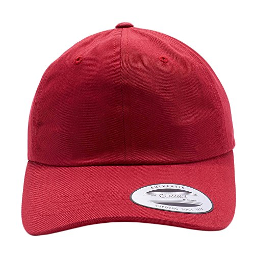 Acorn Yupoong Classic 6245CM Unstructured Cotton Twill Dad Hats Low Profile Baseball Caps (Cranberry)