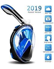TABIGER Tauchmaske Schnorchelmaske, Panorama Vollmaske Vollgesichtsmaske Erwachsene, Anti-Beschlag, Anti-Leck & Wasserdicht mit Kamerahaltung, 180° Sichtfeld, Easybreath für Erwachsene